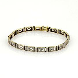 Art Deco Platinum 14k Yellow Gold Open Milgrain Design Bracelet