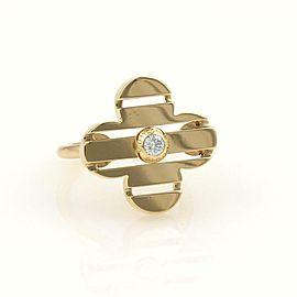 Louis Vuitton Petite Fleur Diamond 18k Yellow Gold Floral Ring Size 6