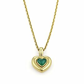 Van Cleef & Arpels Green Onyx 18k Yellow Gold Heart Pendant Necklace