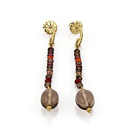 David Yurman Smokey Quartz & Sapphire 18k Gold Dangle Earrings