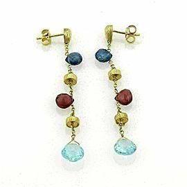 Sapphire Topaz & Garnet 18k Yellow Gold Drop Dangle Earrings
