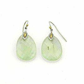 Gurhan Nokta Discus Green Quartz Diamonds 24k Gold & Sterling Earrings Rt $1,250