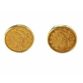 Estate 22k Gold 1883 Coin 14k Yellow Gold Round Stud Cufflinks