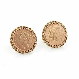 Vintage 22k Gold $5 Liberty & $5 Indian head Coins in 14k Gold Cufflinks