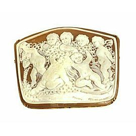 Estate 18k Pink Gold Carved Group Of Cherubs Shell Cameo Brooch Pendant