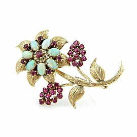 Opal & Ruby Flower 18k Yellow Gold Brooch Pin