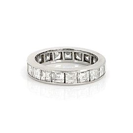Platinum 3.60ct Square Cut Diamond Full Circle Eternity Band Ring Size - 6
