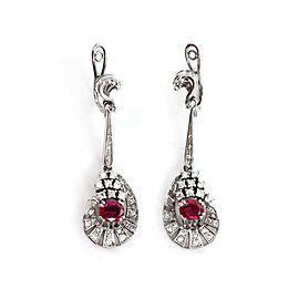 Estate 6.80ct Diamond Ruby 18k White Gold Earrings & Ring Set