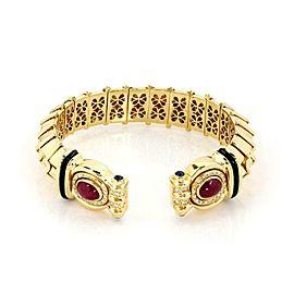 Denior 18k Gold 3.85ct Diamond Ruby Sapphire 15.5mm Wide Flex Cuff Band Bracelet