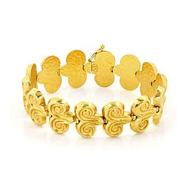 Vintage 22k Yellow Gold Chasing Double Scroll Link Bracelet