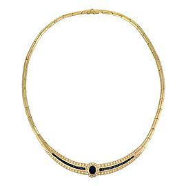 Estate 6.25ct Diamond & Sapphire 18k Yellow Gold Collar Necklace