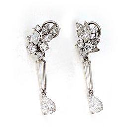 Platinum 6.33ct Diamond Cluster Top Long Dangle Earrings