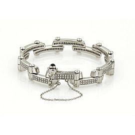 Philipe Charriol 1.00ct Diamond 18k White Gold Fancy Long Bar Flex Bracelet