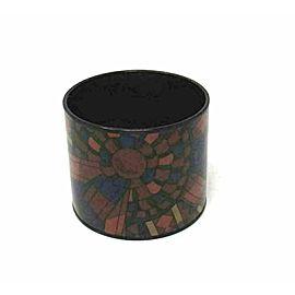 Hermes Black Stainless Steel Fancy Multicolor Enamel Design Wide Bangle Bracelet