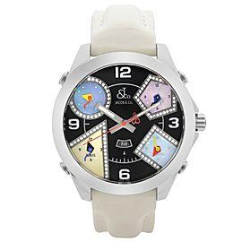 Jacob & Co Five Time Zone 47mm Steel Diamond MOP Black Dial Unisex Watch JC7-5DA