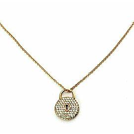 Tiffany & Co. Diamond 18k Rose Gold Classic Round Padlock Pendant Necklace