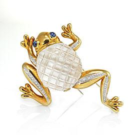 David Webb 18K Yellow Gold Crystal Diamond Sapphire Multi Gem Frog Brooch