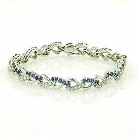 Diamond & Sapphire 18k White Gold Heart Links Bracelet