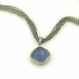 Rina Limor Diamond & Chalcedony 18k White Gold Pendant Multi Chain Necklace