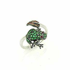 Frog & Leaf Bypass Ring Tsavorite Sapphire & Garnet 18k White Gold Ring