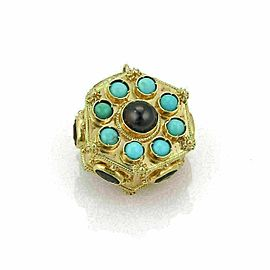 Estate Cabochon Turquoise & Garnet 18k Yellow Gold Fancy Octagon Pendant