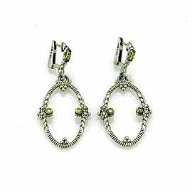 Judith Ripka Diamond 18k Yellow Gold Sterling Silver Oval Dangle Earrings