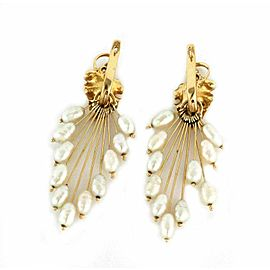 Vintage Freshwater Pearls 14k Yellow Gold Convertible Style Dangle Earrings