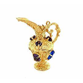 Amethyst & Sapphire 14k Yellow Gold 3D Water Jug Charm