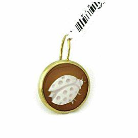 Ippolita 14k Gold Ladybug Shell Cameo Clear Quartz Single Earring