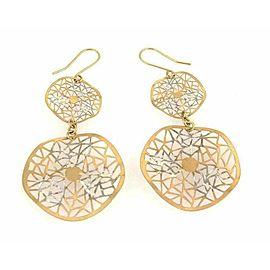 Giordana Castellan 14k Gold Fancy Web Design 2 Circle Wave Dangle Earrings