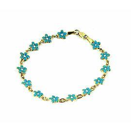 Enamel Floral 18k Yellow Gold Link Bracelet