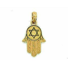 Hamsa Hand Judaica 14k Yellow Gold Charm Pendant