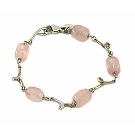 Tiffany & Co. Pink Quartz Sterling Fancy Link Bead Bracelet