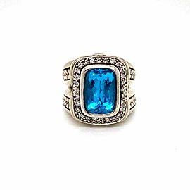 Scott Kay Diamond Blue Topaz Sterling Silver Hefty Rectangle Top Ring