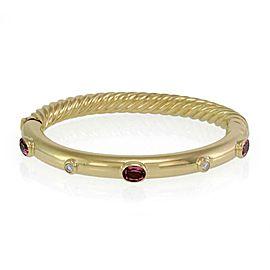 David Yurman 2.34ct Diamond Pink Tourmaline 18k Yellow Gold Cable Bangle