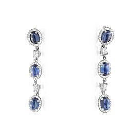 Rachel Koen 18k White Gold 7.70Ct Cabochon Sapphires & 1.22Ct Diamond Earrings