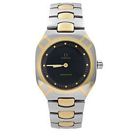 Omega Seamaster Polaris Two-Tone Steel Black Dial Quartz Watch DB 386.0822