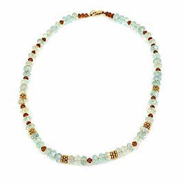 Aquamarine & Citrine Faceted Gemstones & 18k Gold Necklace