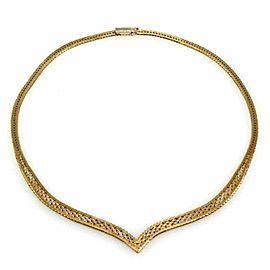 Vintage Fancy 14k Tri-Color Gold V Graduated Collar Necklace