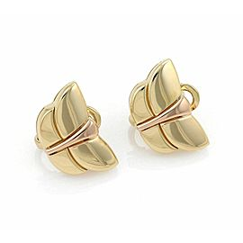 Bvlgari 18k Yellow & Rose Gold Butterfly Post Clip Earrings w/Paper