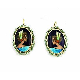 French Hand painted Enamel Carmen Oval Cameo Pearl 14k Gold Earring