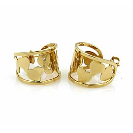 Roberto Coin Diamond 18k Yellow Gold Hearts Open Wide Hoop Earrings