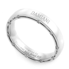Damiani Brad Pitt 18K White Gold & 0.18ct. Diamond Band Ring Size 6.75