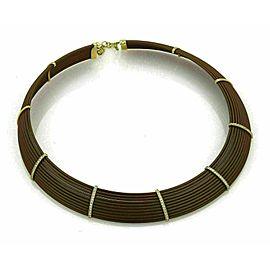 Roberto Coin Diamond 18k Yellow Gold & Polyurethane Choker Necklace