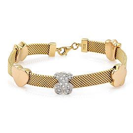 Tous Diamond Bear 18k Gold Slide Hearts & Flower Wide Mesh Bracelet