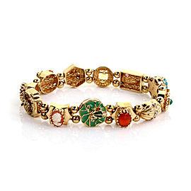 Diamond Multi-Color Gems 14k Gold Assorted Size 12 Slide Charms Bracelet