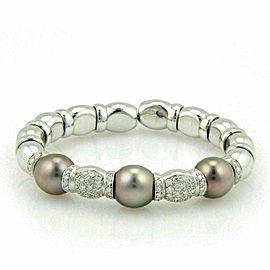 Diamond South Sea Grey Pearls 18k White Gold Fancy Cuff Bracelet