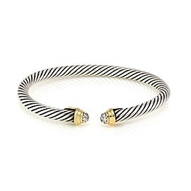 David Yurman Pave Diamond 925 Silver 18k Gold Cable Cuff Bracelet Small