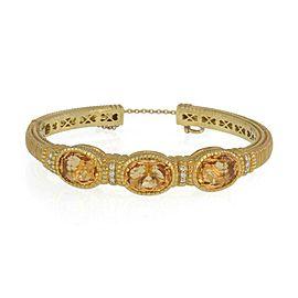 Judith Ripka Orange Citrine & Diamond 18k Yellow Gold 3 Stone Cuff Bracelet