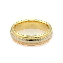 Cartier 18k Tricolor Gold 5mm Triple Stack Band Ring Size EU 61-US 9.5 Cert